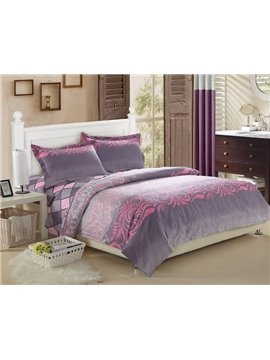 Top Grade 4 Piece Plaid and Acticve Printing Fitted Sheet Bedding sets