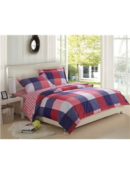 High Quality 100% Cotton Checked 4 Piece Fitted Sheet Bedding sets