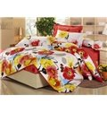 Gorgeous Chinese Style Flower Print 4 Piece Fitted Sheet Bedding sets