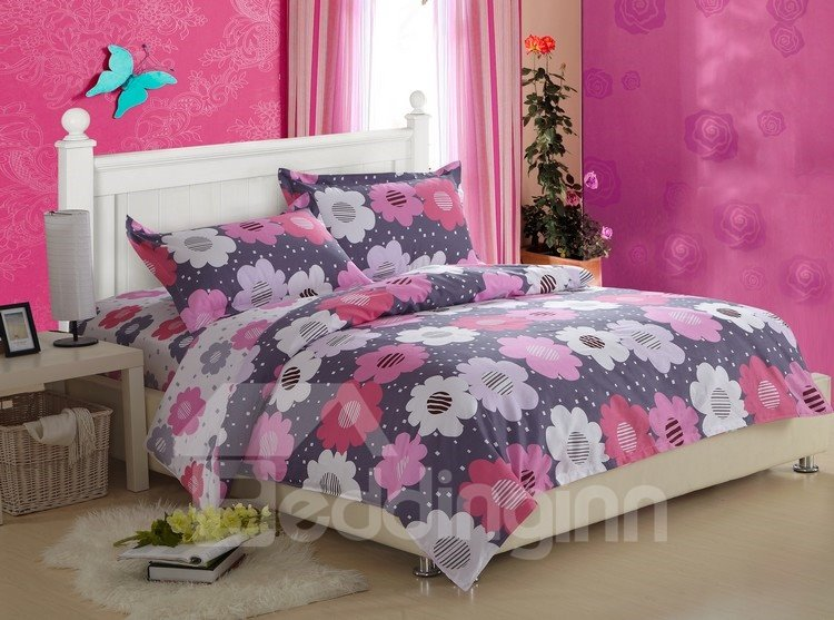 Superior Quality Current Floral Print 4 Piece Discount Bedding Sets
