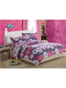 Superior Quality Current Floral Print 4 Piece Discount Bedding sets With Fitted Sheet