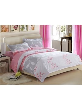 Fantastic White and Pink with Graceful Leaves 4 Piece Discount Bedding sets With Fitted Sheet
