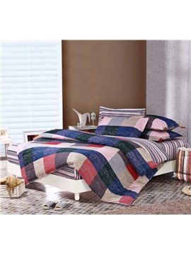 England Style with Plaid and Stripe 4 Piece Fitted Sheet