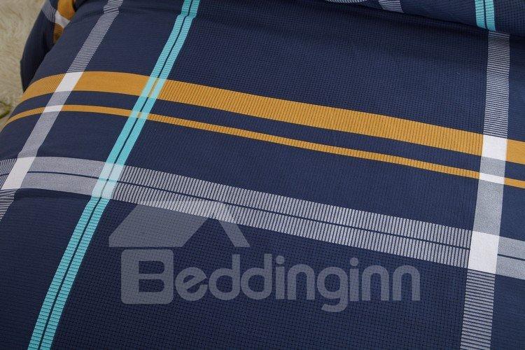 Gentle Stripe Print Dark Blue 100% Cotton 4 Piece Discount Bedding sets With Fitted Sheet