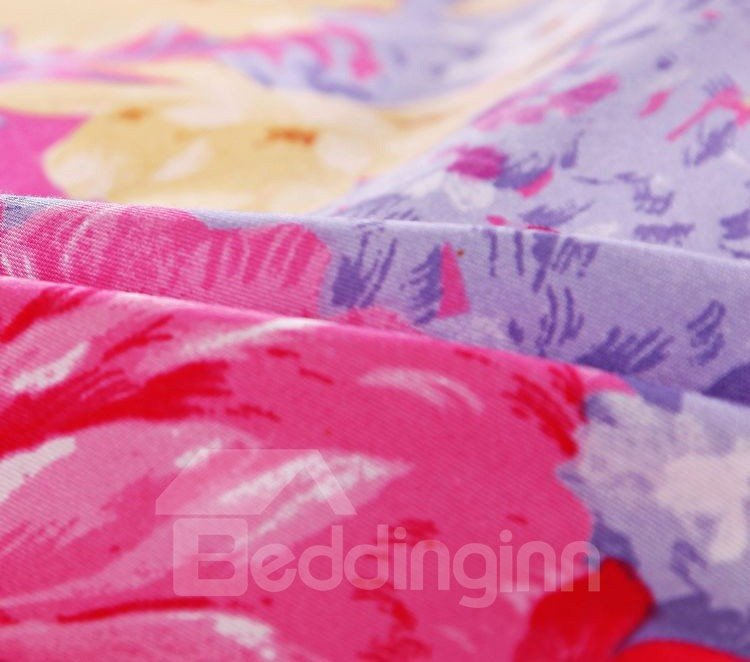 New Arrival 4 Piece Rose with Flower Print Bedding Sets