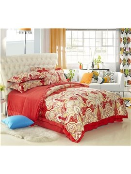 Modern Style Flowers Print Comfortable Sandedcloth Material 4 Piece Bedding Sets