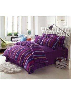 Colorful Stripes Print Purple Comfortable Sandedcloth Material 4 Piece Bedding Sets