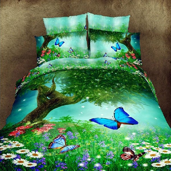 Beautiful Flowers and Butterflies Print 4 Piece Polyester Bedding Sets