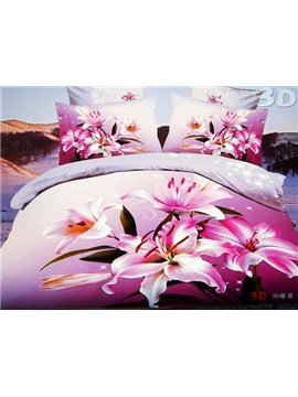 New Arrival Pink Lilies Flower Print 4 Piece Bedding Sets