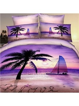 New Arrival 100% Cotton Palm Beach Sea of Love 4 Piece Bedding Sets/Duvet Cover Sets