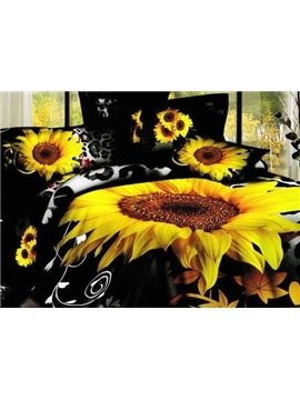 New Arrival 100 Cotton Black Sunflower 4 Piece Bedspreads and Duvet Cover Sets