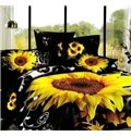 New Arrival 100% Cotton Black Sunflower 4 Piece Bedspreads and Duvet Cover Sets