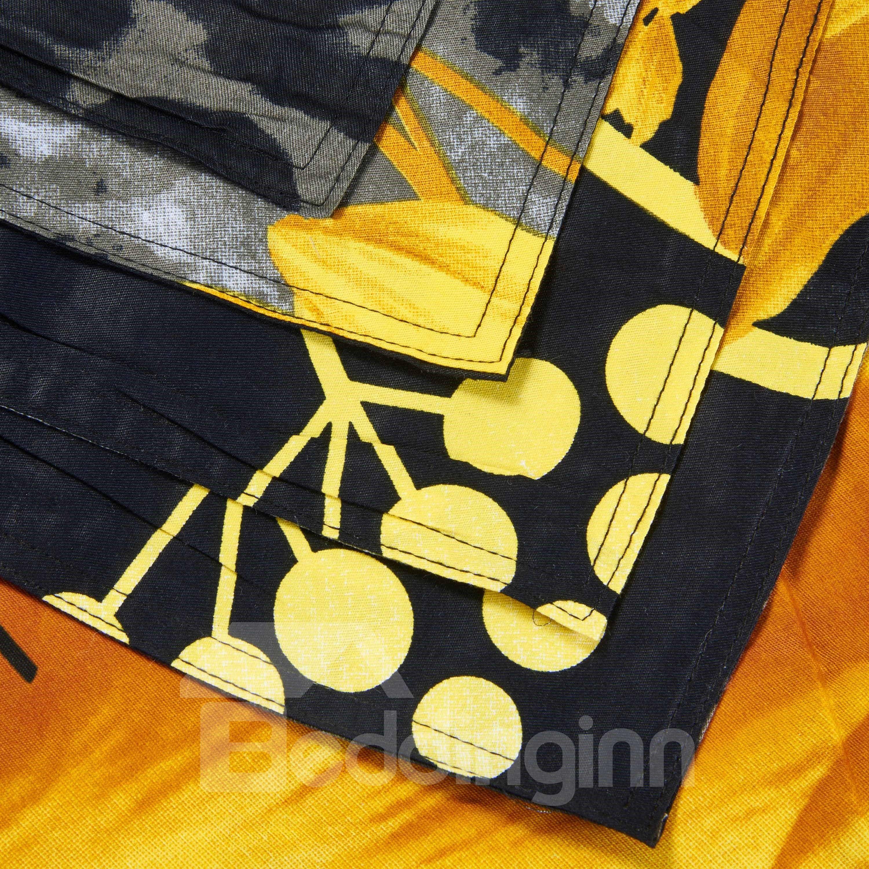Attractive 3D Sunflower Printed Black 4-Piece Cotton Duvet Cover Sets