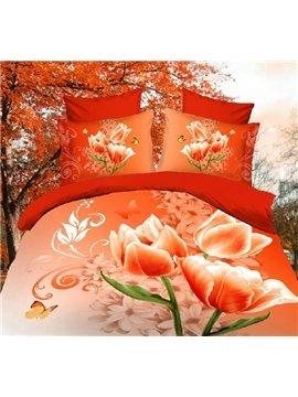 Magnolia Flowers Print 4 Piece 3D Polyester Duvet Cover Sets