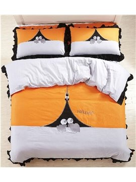 New Arrival 100% Cotton Cartoon Princess Style Ruffles 4 Piece Bedding Sets/Duvet Cover Sets