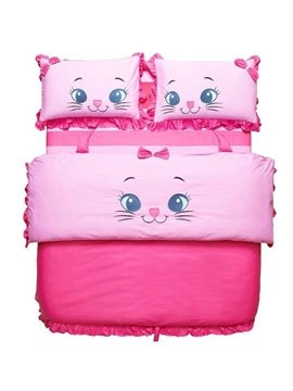 New Arrival 100% Cotton Princess Style Cartoon Cat 4 Piece Bedding Sets/Duvet Cover Sets