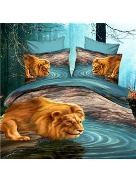 New Arrival 100% Cotton Vivid Lion Dabbling by the River Print 4 Piece Bedding Sets/Duvet Cover Sets