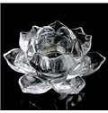 New Arrival Crystal Glass Lotus Shape Two Pieces Candle Holder