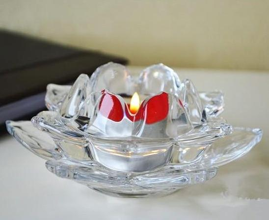 New Arrival Glass Lotus Shape Two Pieces Candle Holder