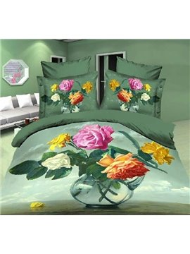 New Arrival High Quality Skin Care Flowers in Vase 4 Piece Bedding Sets/Duvet Cover Sets