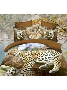 High Quality Leopard Resting on the Tree 4 Piece Polyester 3D Duvet Cover Sets