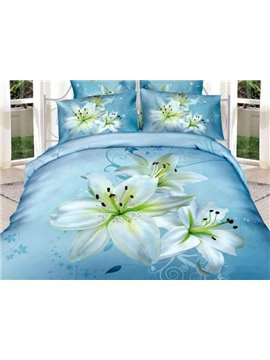 New Arrival High Quality 100% Cotton Light Blue Lily 4 Piece Bedding Sets/Duvet Cover Sets
