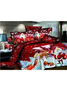 new arrival high quality 100 cotton happy red christmas 4 piece bedding sets duvet cover sets