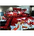 High Quality Christmas Gift 100% Cotton Happy Red Christmas 4 Piece Duvet Cover Sets