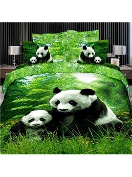 New Arrival 100% Cotton China Panda Eating Green Tender Grass 4 Piece Bedding Sets/Duvet Cover Sets