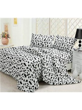 New Arrival High Quality Super Soft Coral Fleece Milch Cow Print 4 Piece Bedding Sets/Duvet Cover Sets