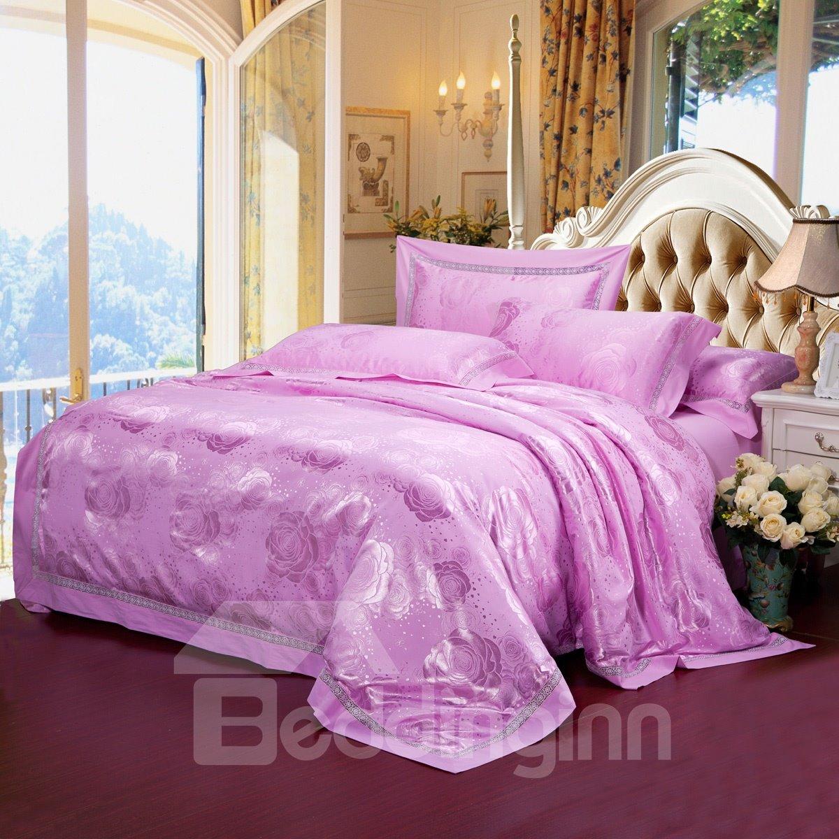 Luxurious light purple floral jacquard drill 4 piece - Light purple comforter set ...