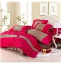 100% Cotton Leopard Red and Coffee with Lace 4 Piece Bedding Sets