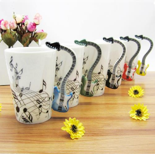 New arrival unique design porcelain enamel electric guitar Unique coffee cups mugs