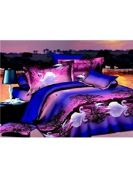 New Arrival White Swan on Swan Lake Print Purple 4 Piece Bedding Sets/Duvet Cover Sets
