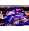 New Arrival 100% Cotton White Swan on Swan Lake Print Purple 4 Piece Bedding Sets/Duvet Cover Sets