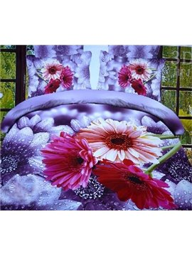 New Arrival Beautiful Rain Flowers 4 Piece Polyester Bedding Sets/Duvet Cover Sets