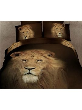 New Arrival High Quality 100% Cotton King of Prairie Lion 4 Piece Bedding Sets/Duvet Cover Sets