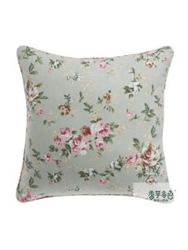 High Quality Linen Cotton Fabric Pretty Flower Print Pillowcase