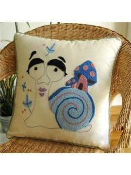 High Quality Linen Cotton Fabric Hand Embroidery Snail Figure Pillowcase