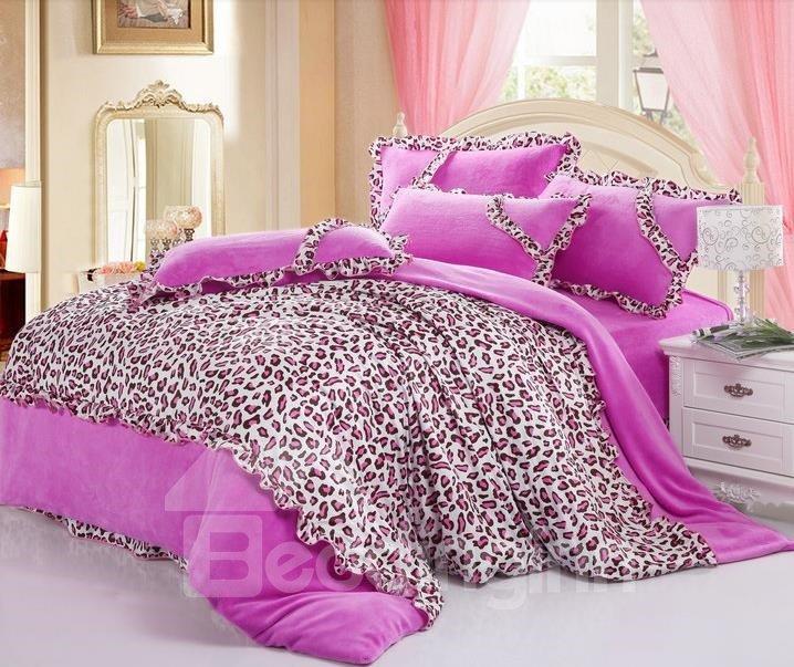 New Arrival Thicken Coralon Leopard Pink 4 Piece Bedding Sets/Duvet Cover Sets