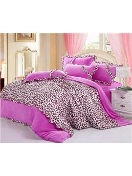 New Arrival Thicken Coralon Leopard Pink 4 Piece Bedding Sets/Duvet Cover Sets