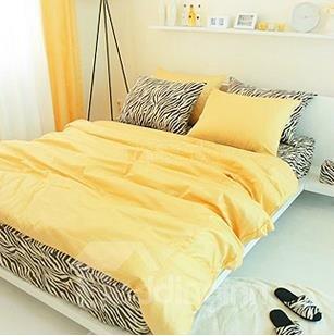 New Arrival 100% Cotton Korean Style Zebra Yellow 4 Piece Bedding Sets/Duvet Cover Sets