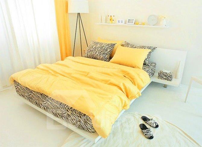 New Arrival 100 Cotton Korean Style Zebra Yellow 4 Piece