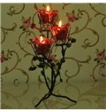 Romantic Wrought Iron Rose Candle Holder with three Glass Heads