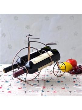 Creative Vintage Bicycle Wrought Iron Artware Wine Rack with Two Sides