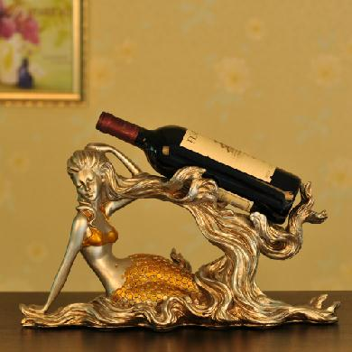 Vintage Silvery Mermaid Resin Artware Wine Rack Home Decoration