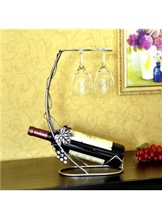 Elegant Grape Vine Wine Rack with Two Wine Glass Holders