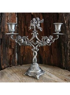 New Arrival Russian Tin Crafts Relief Sculpture of Angel Two-head Candle Holder