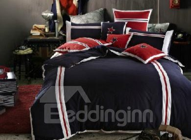 100% Cotton Comfortable Pentacle Print Dark Blue 4 Piece Bedding Sets
