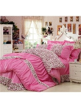 New Arrival 100% Cotton Korean Style Princess Lace Pink Leopard 4 Piece Bedding Sets/Duvet Cover Sets